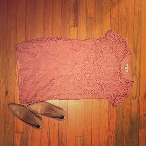 Francesca's Pink Lace Dress Medium